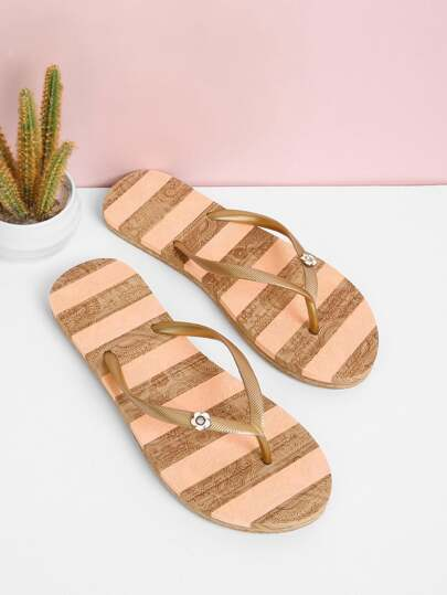 Block Striped Flip Flops