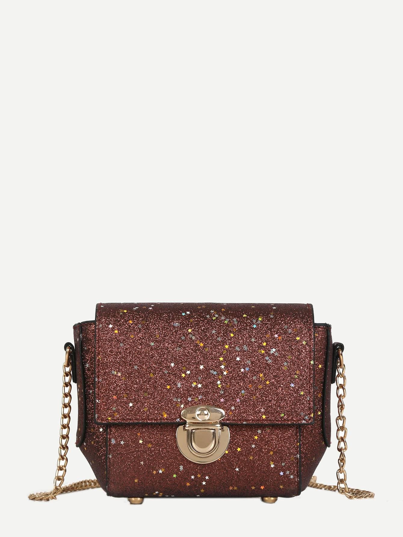 Glitter Push Lock Chain Bag цена 2017
