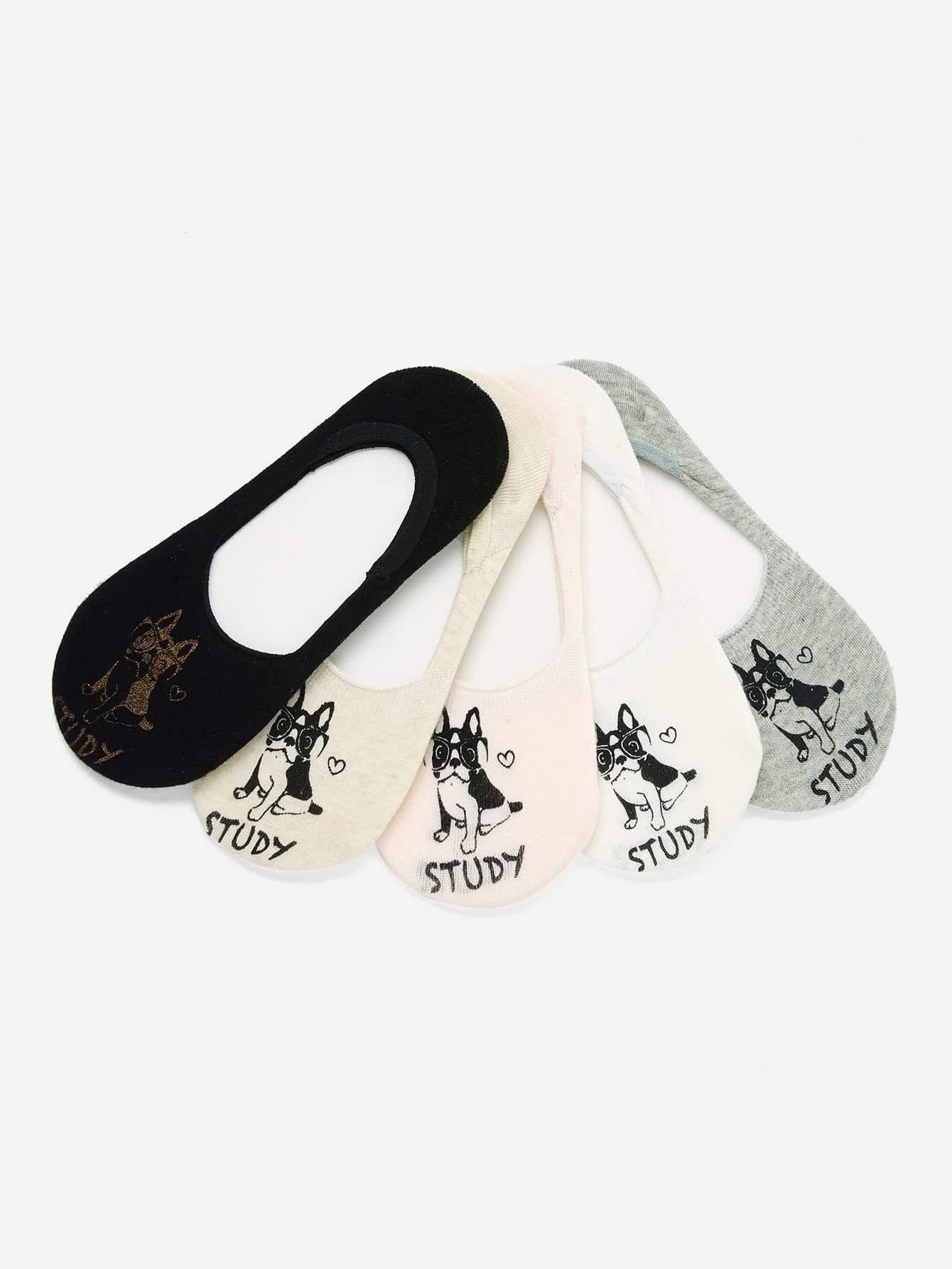 Dog Pattern Invisible Socks 3pairs animal embroidery invisible socks 3pairs
