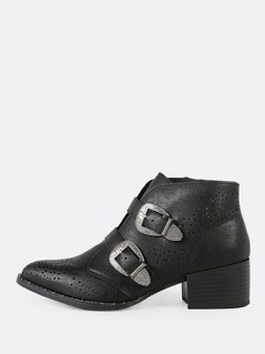 Double Buckle Perforated Pointy Toe Bootie BLACK