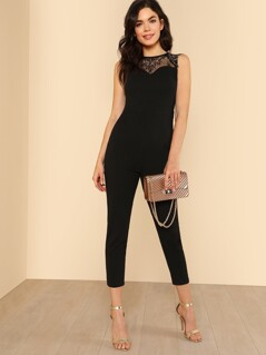 Lace Yoke Keyhole Back Skinny Jumpsuit