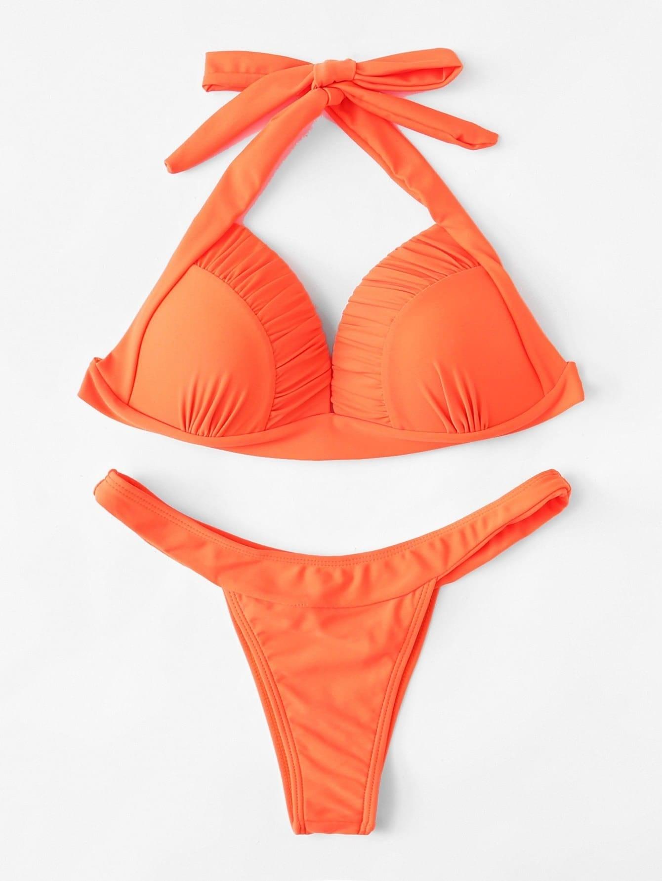 Ruched Detail Halter Bikini Set ruched detail halter bikini set
