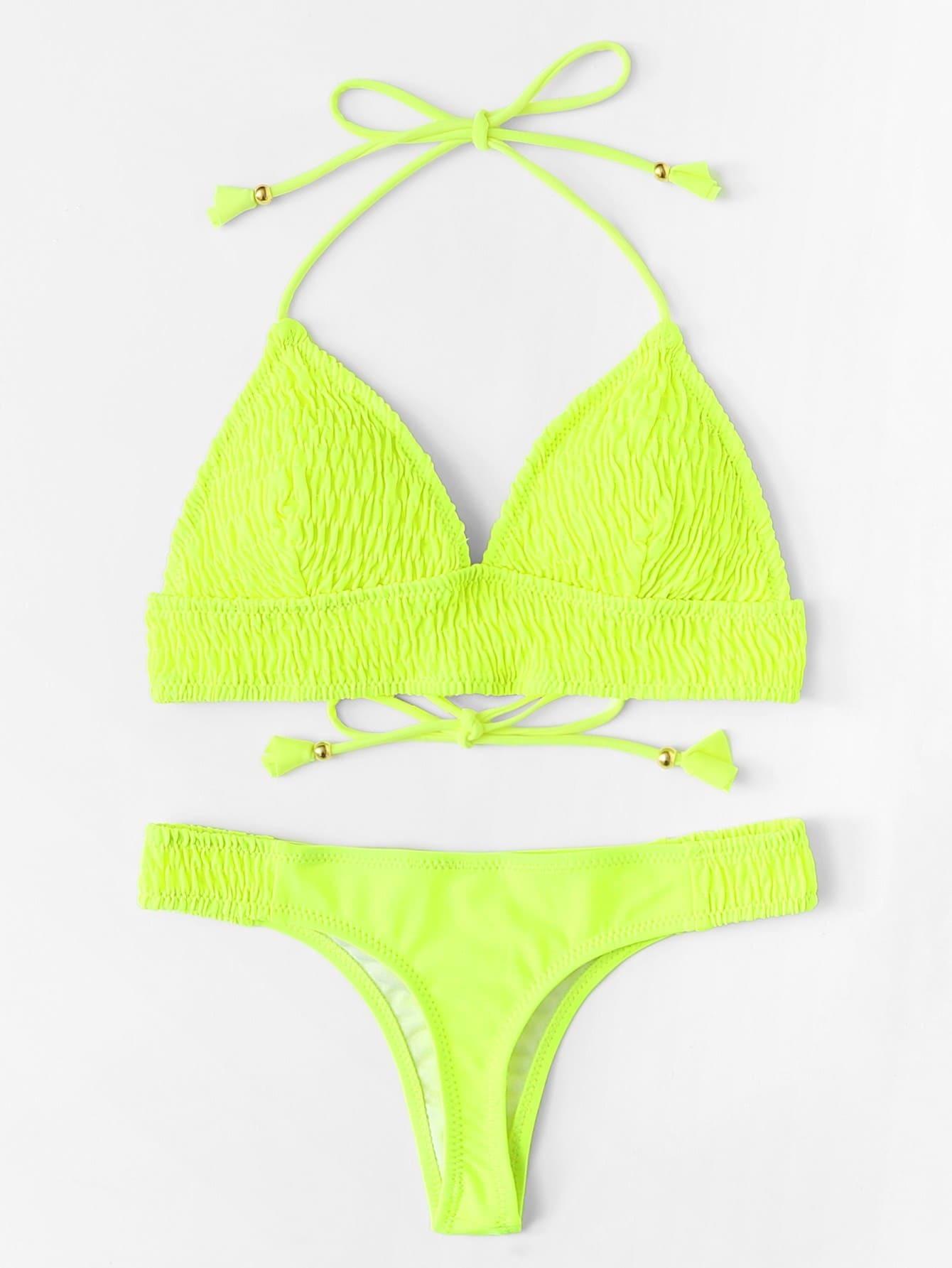 Shirred Self Tie Bikini Set