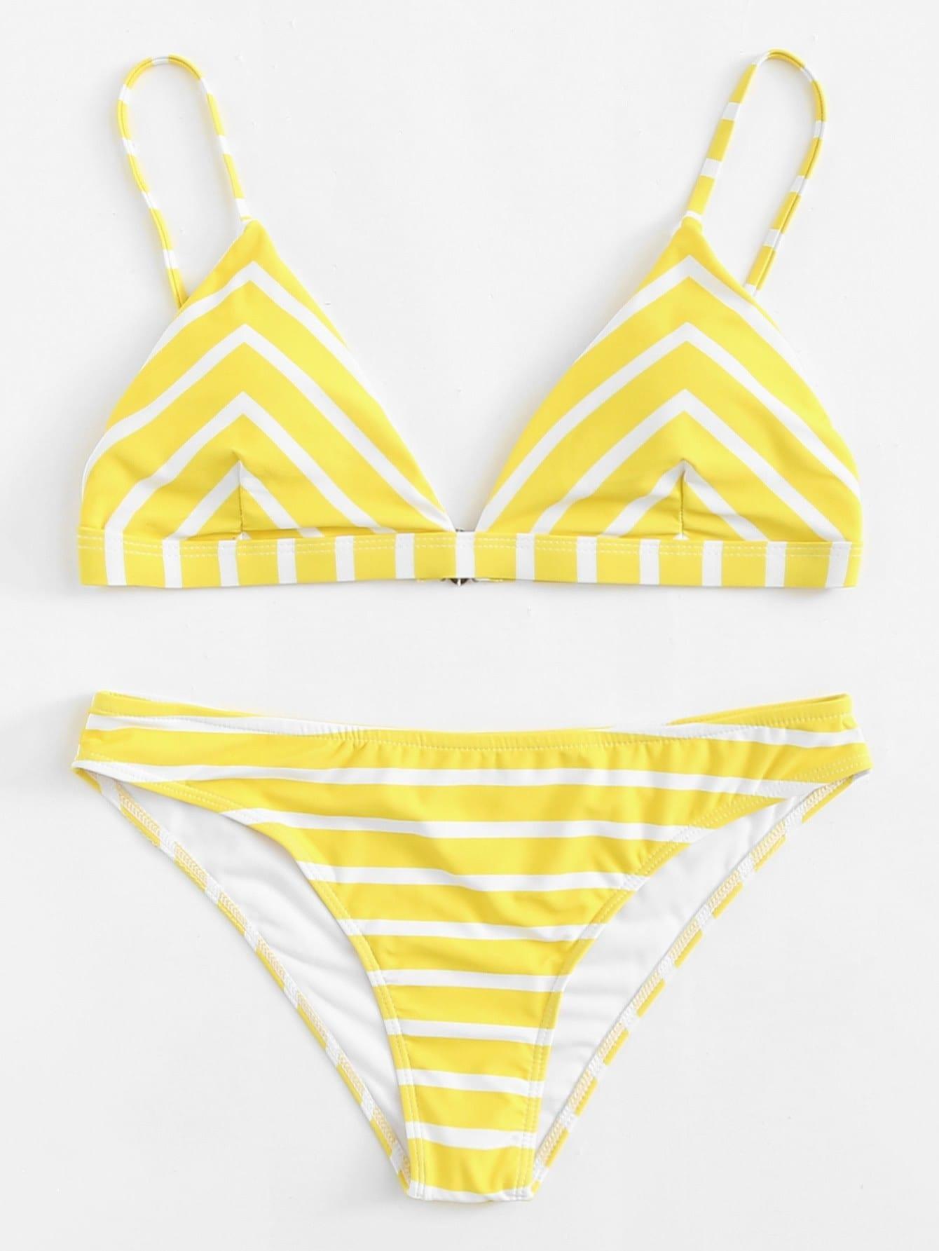 Chevron Bikini Set chevron print tassel detail bikini set
