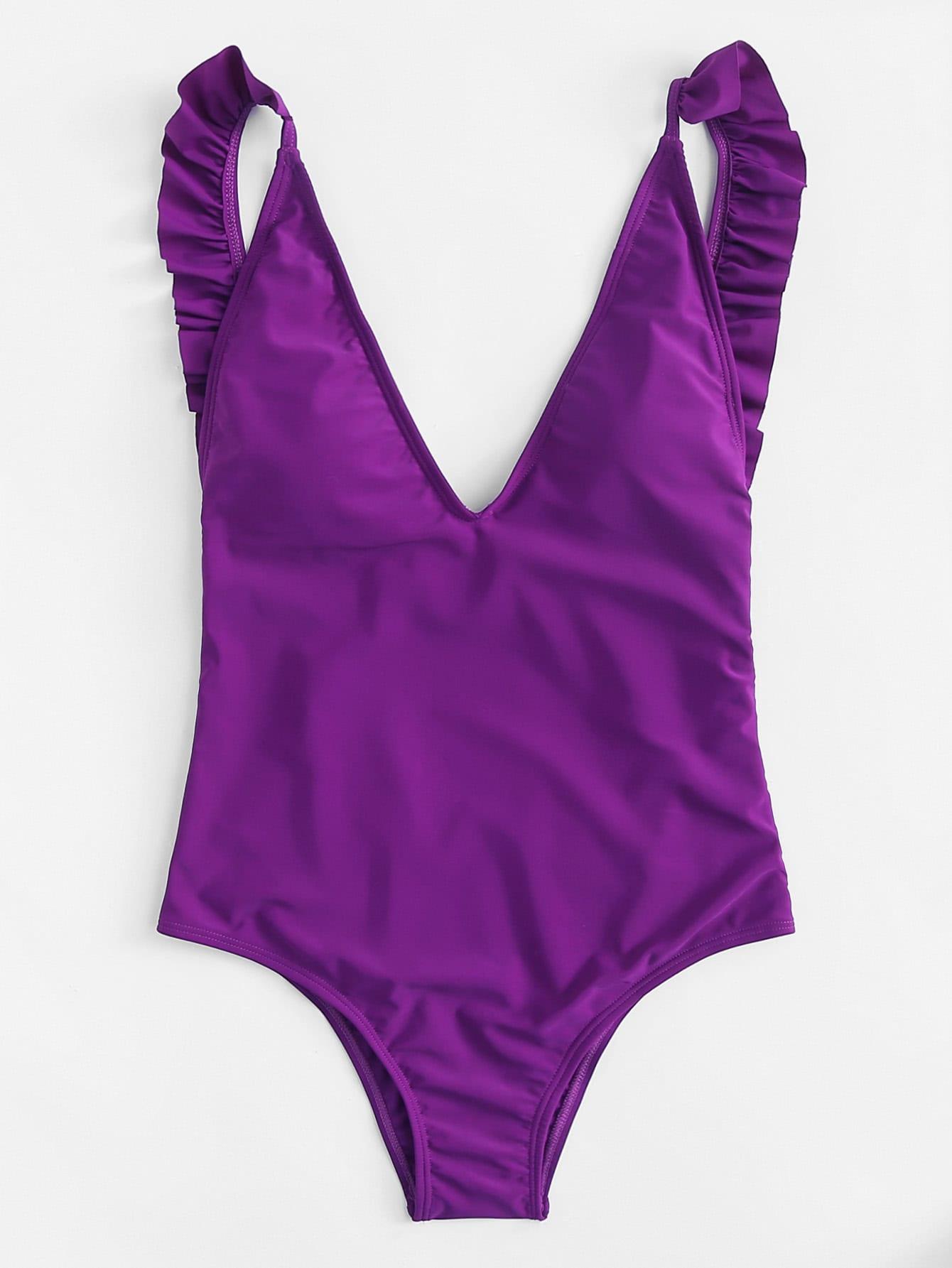 Open Back Ruffle Swimsuit open back fit