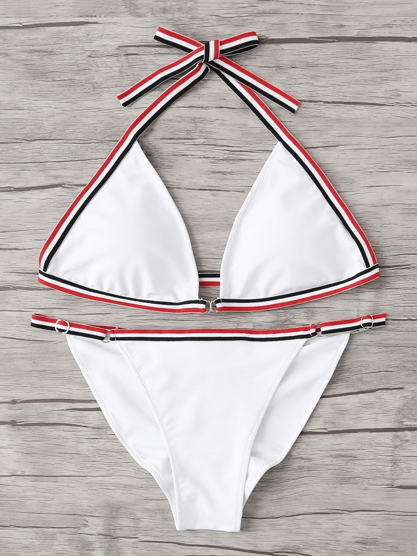 Striped Tape Triangle Bikini Set