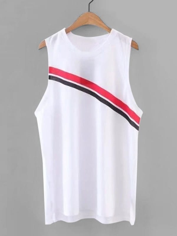 Striped Panel Sleeveless Top vest180314201