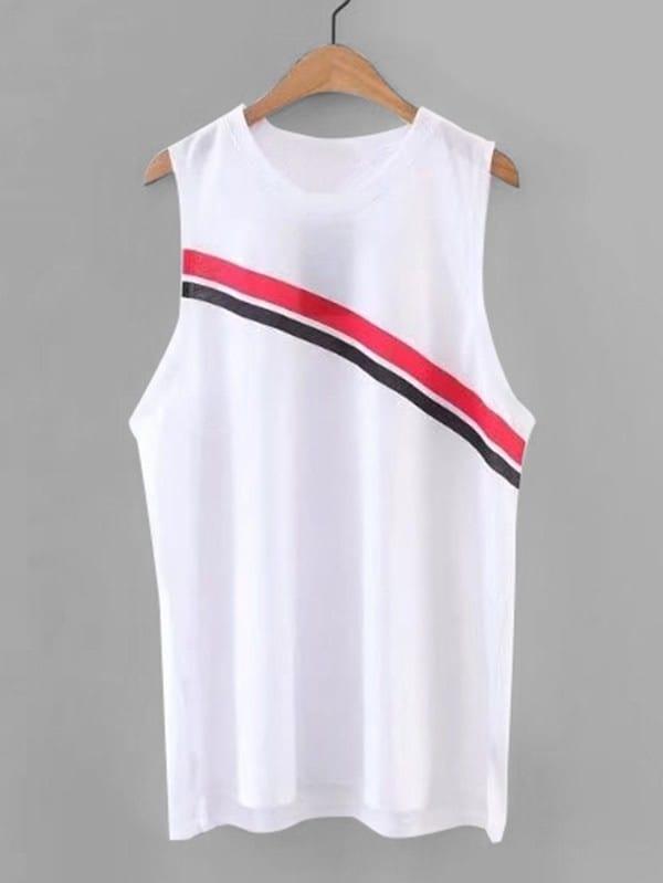 Striped Panel Sleeveless Top vest180314201