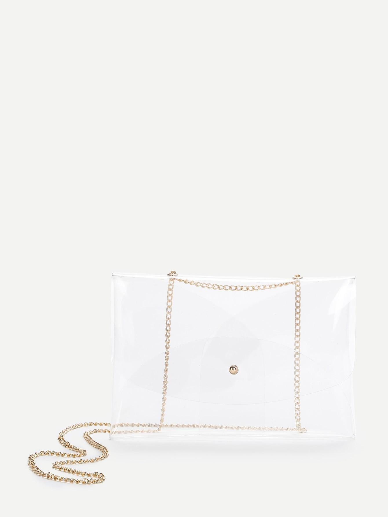 PVC Clear Crossbody Chain Bag exclusive shinny kaki shaggy deer pvc fuax leather 25cm small size steel chian fold over lady luxury chain bag