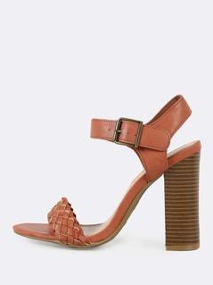 Weaved Single Band Ankle Strap Chunky Heel MOCHA
