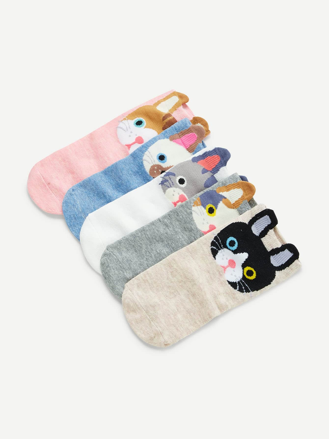 Animal Pattern Ankle socks 5pairs letters pattern kintting ankle socks