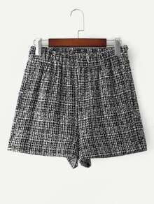 Elastic Waist Tweed Shorts