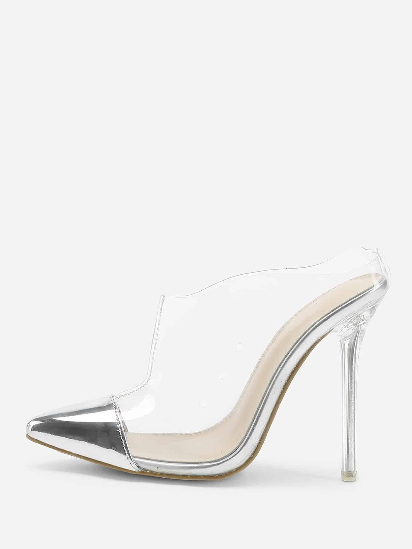 Transparent Cap Toe Stiletto Heels shoes180306805