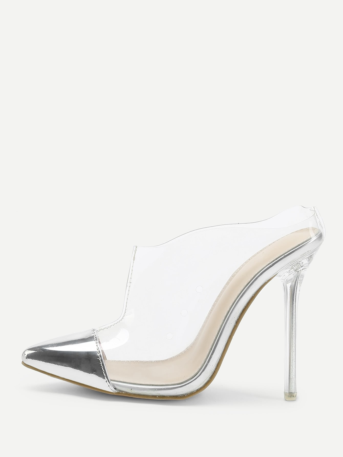 Transparent Cap Toe Stiletto Heels