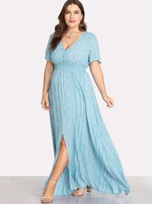 Geometric Print Shirred Waist Maxi Dress