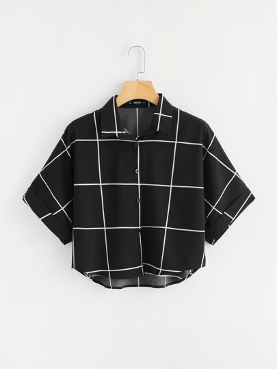 Cuffed Sleeve Grid Shirt