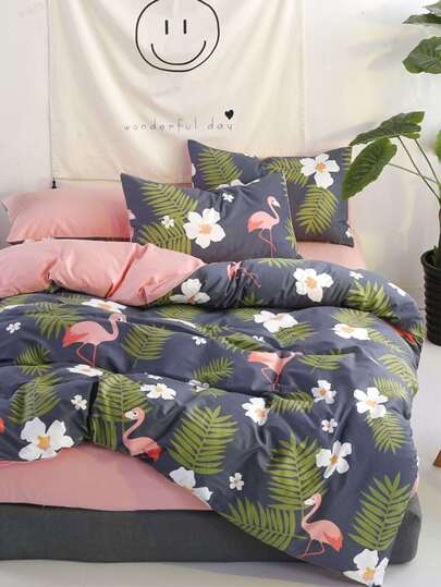 1.8m 4pcs Flamingo & Blumenmuster Bettlaken Set