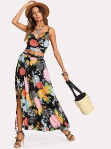 Crop Floral Wrap Cami & Skirt Co-Ord