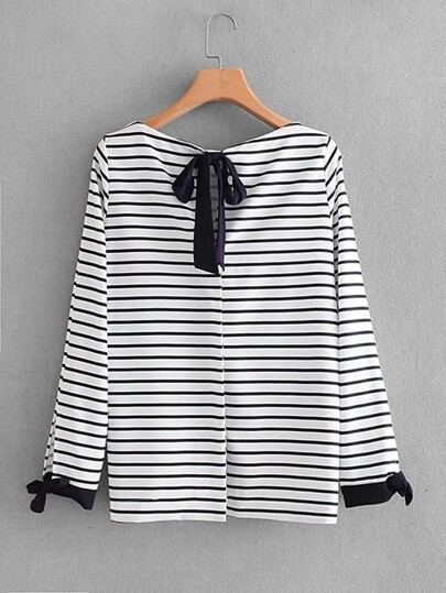Bow Tie Detail Striped Blouse
