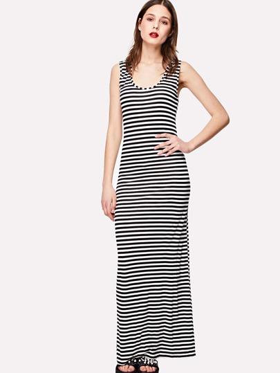Pinstriped Full Length Dress