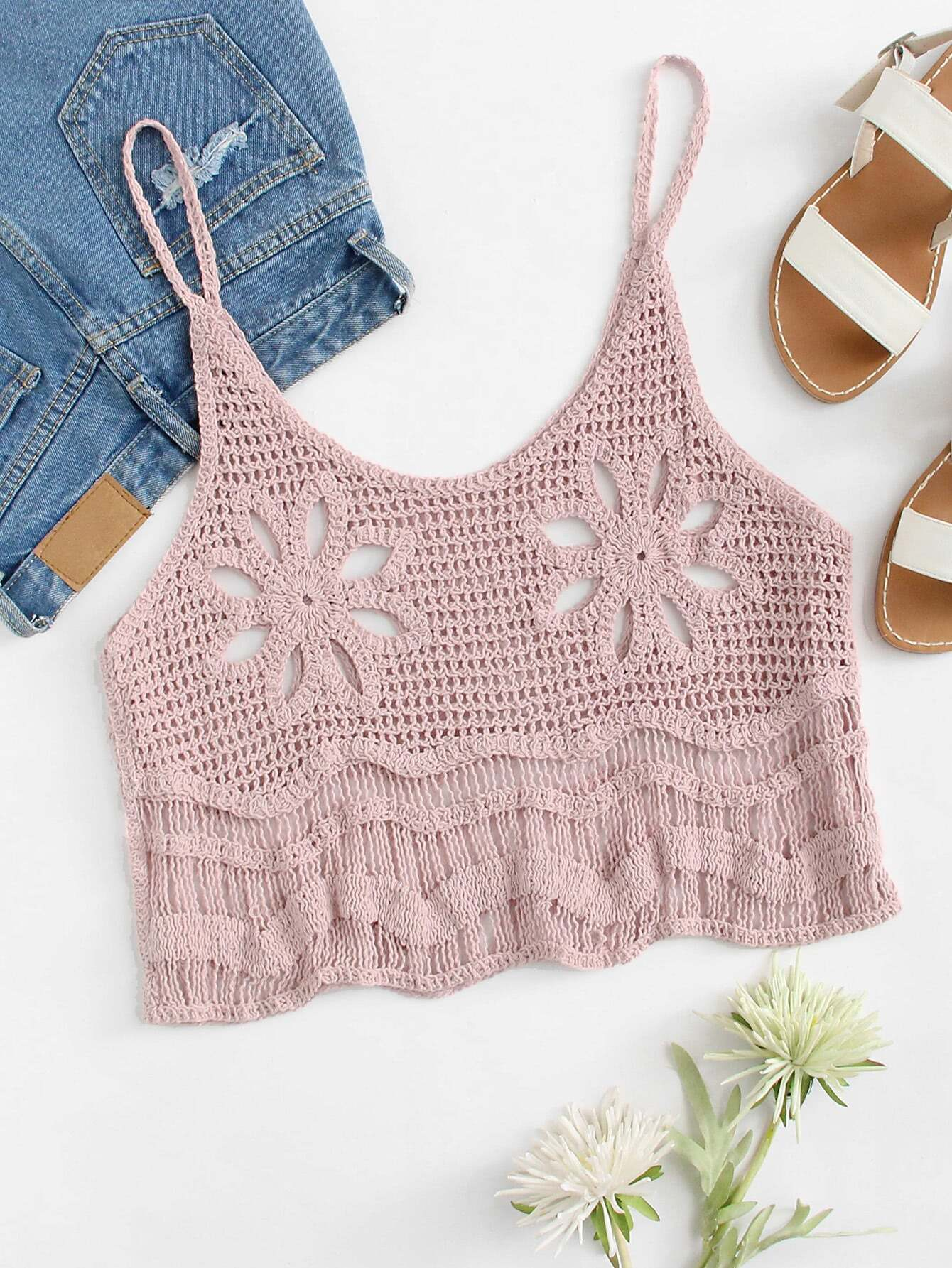 Hollow Out Crochet Crop Cami Top crochet lace hollow out cami top