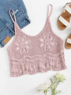 Hollow Out Crochet Crop Cami Top