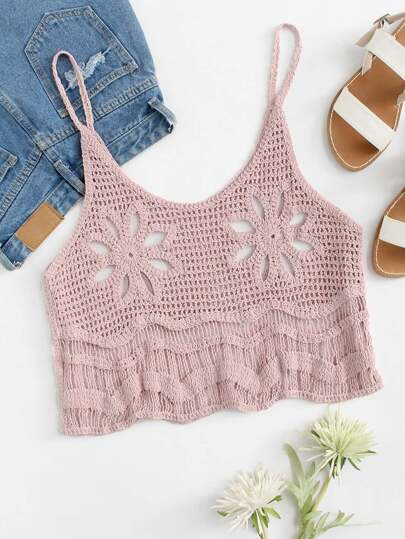 Hollow Out Crochet Crop Cami Top