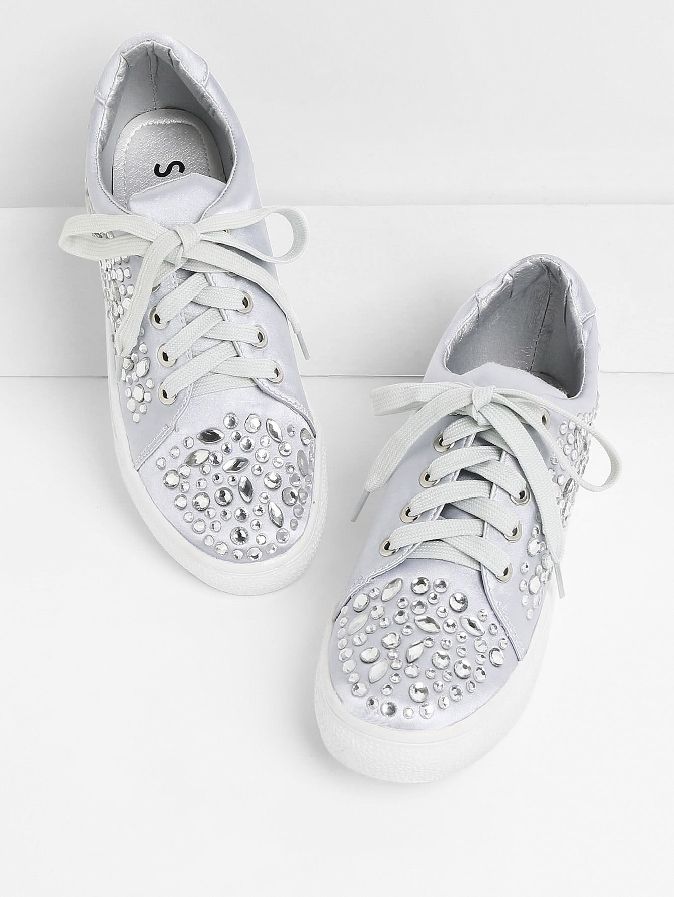 Rhinestone Decorated Lace Up Sneakers