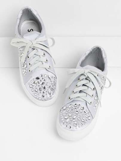 Baskets en satin avec strass