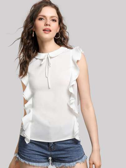 Tie Front Ruffle Trim Keyhole Back Top