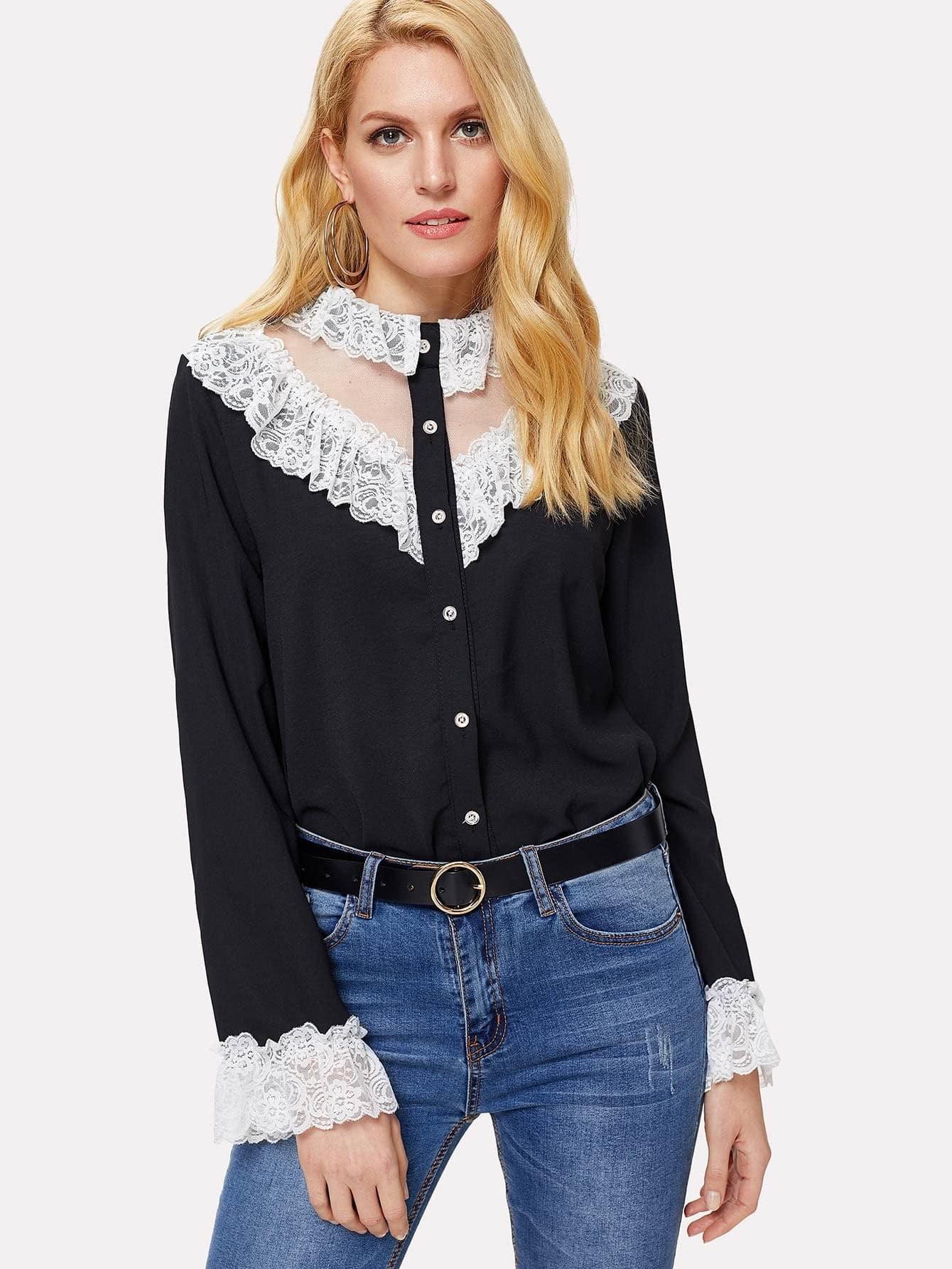 Contrast Lace Trim Mesh Insert Shirt mesh contrast lace top