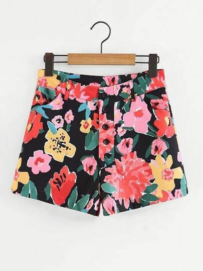 All Over Flowers Button Up Shorts