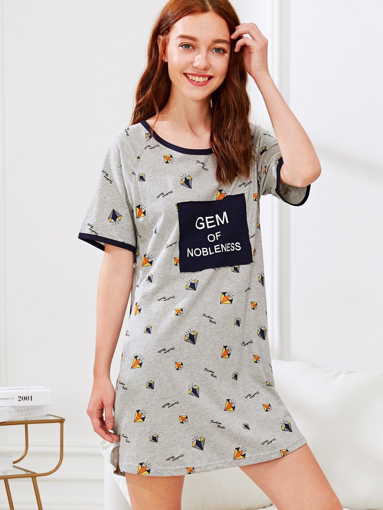 Letter Print Split Side Dress letter print split sleeve dress