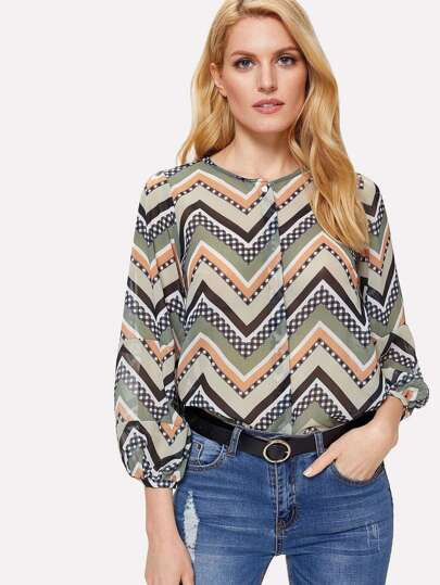 Chevron Pattern Blouse