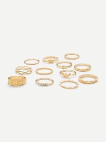 Multi Shaped Ring Set 12Pcs