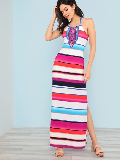 High Neck Stripe Slit Maxi Dress with Cut Out Back Detail WHITE MULTI