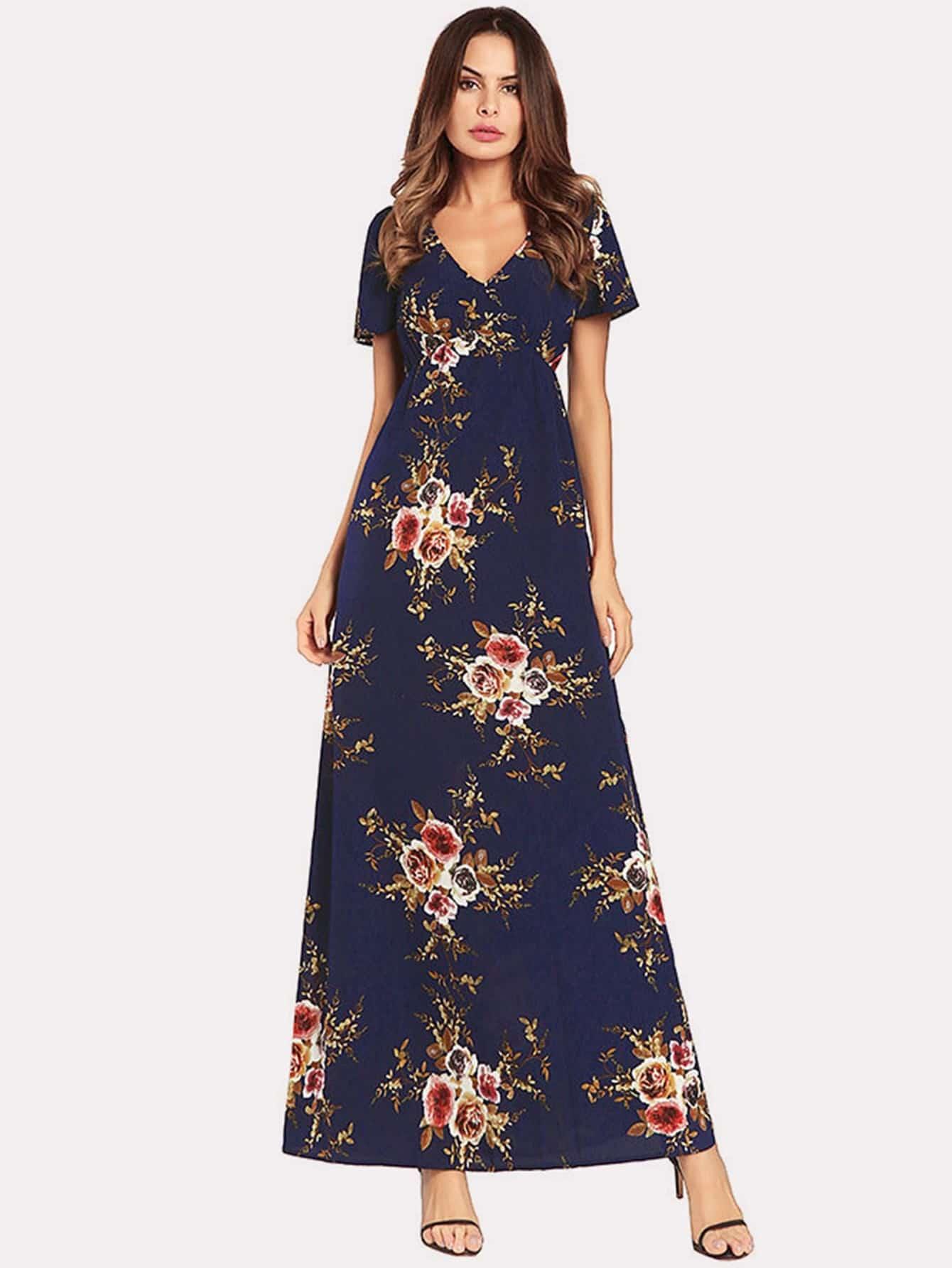 Купить Печатное длинное платье, Andy, SheIn