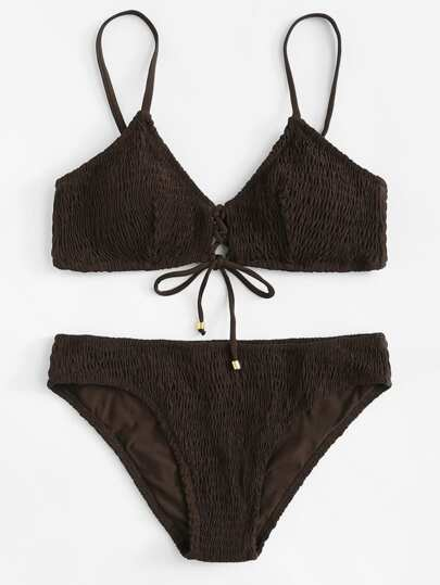 Lace Up Shirred Bikini Set