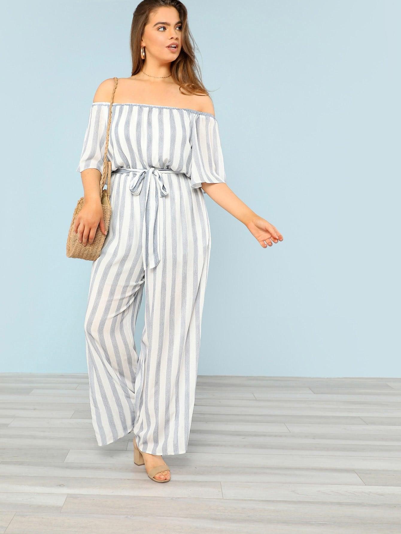 Tie Waist Wide Leg Striped Bardot Jumpsuit tie waist wide leg striped cami jumpsuit