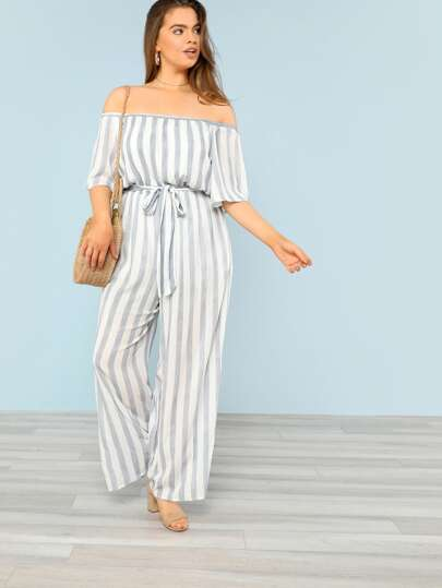 Tie Waist Wide Leg Striped Bardot Jumpsuit