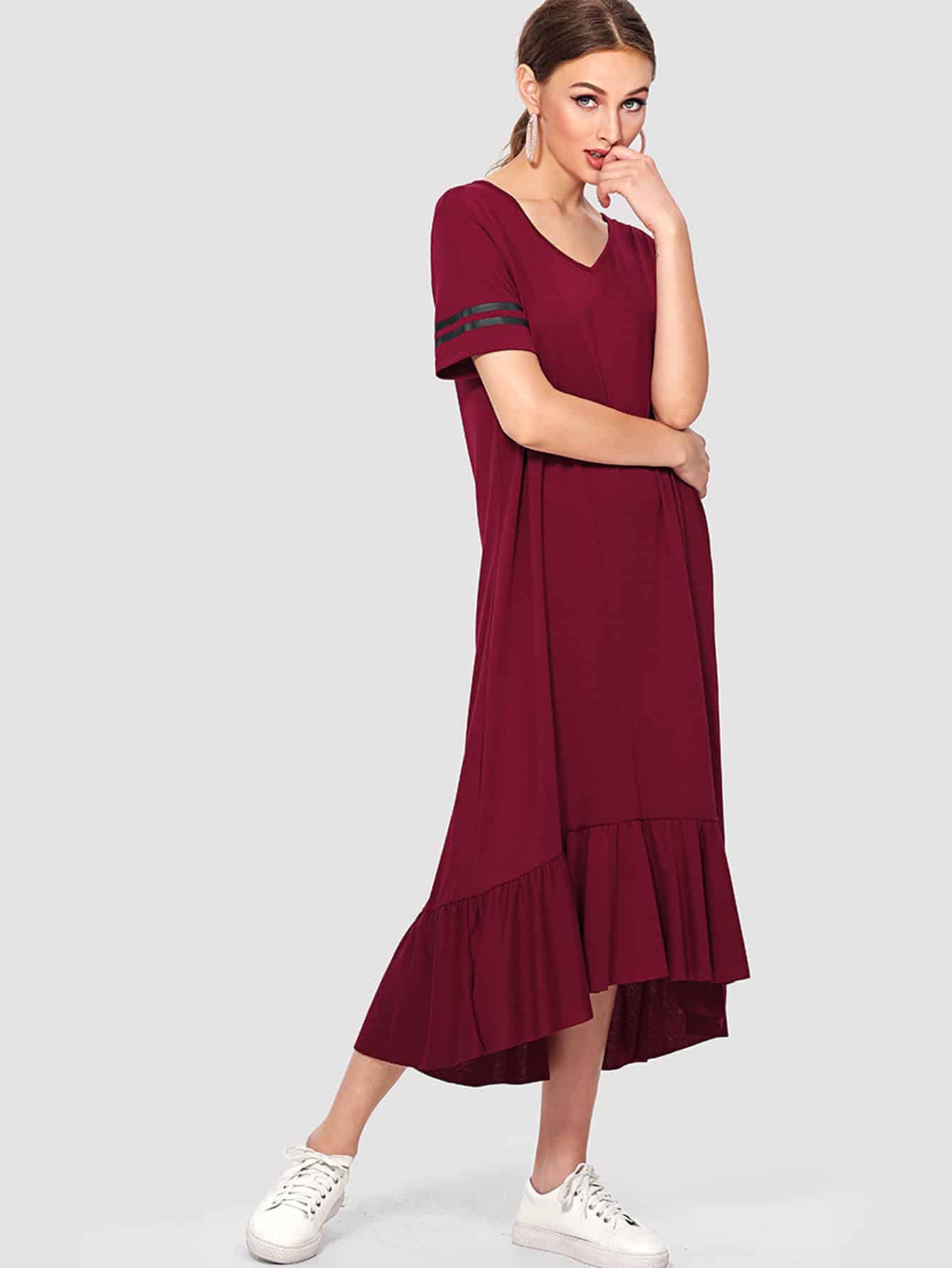 Striped Sleeve Asymmetrical Flounce Hem Dress flounce sleeve striped denim dress