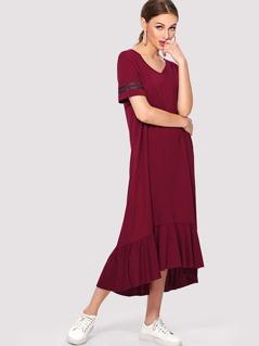 Striped Sleeve Asymmetrical Flounce Hem Dress