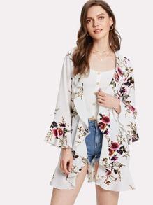 Flower Print Ruffle Trim Textured Kimono