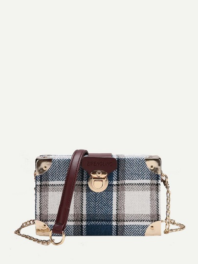 Push Lock Plaid Chain Bag