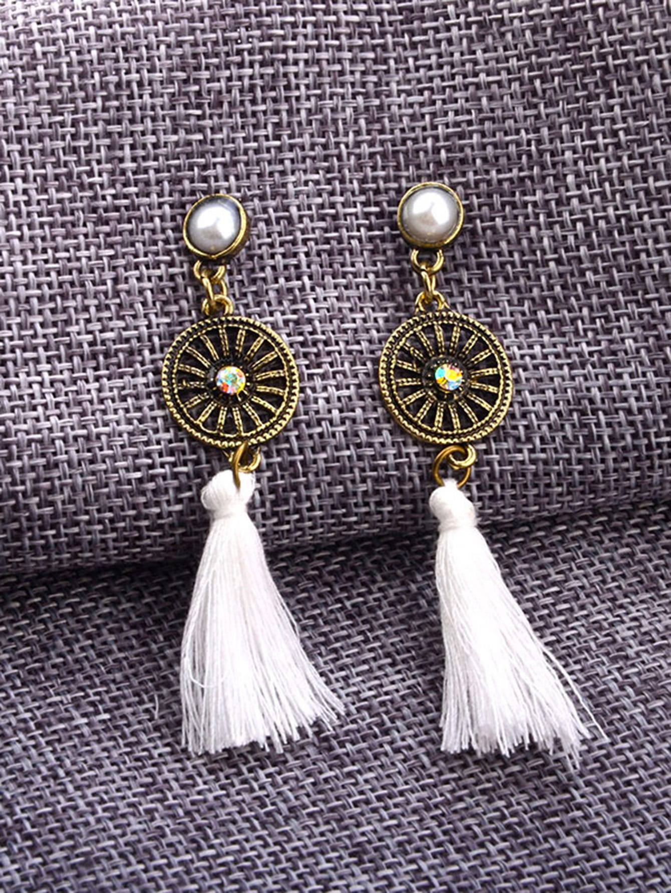Contrast Tassel Dangle Earrings