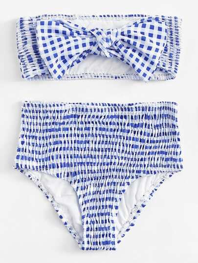 Striped Shirred Knot Bikini Set