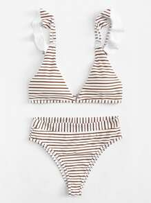 Ruffle Striped Bikini Set