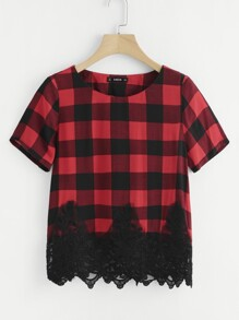 Embroidered Mesh Applique Plaid Top