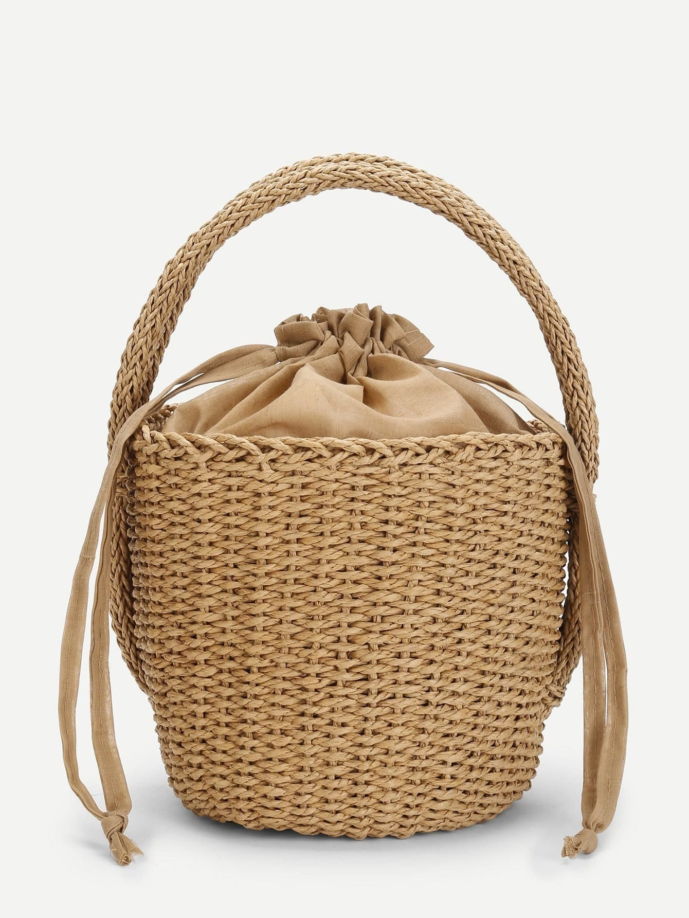 Straw Bucket Bag flounce trim straw bucket bag
