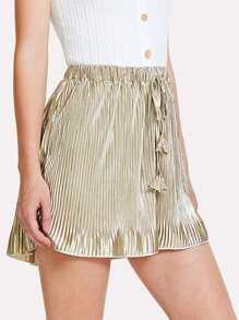 Metallic Pleated Drawstring Shorts